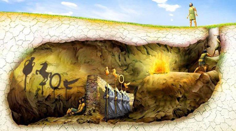 """Η πρώτη προβολή κινούμενης εικόνας σε """"οθόνη"""", αναφέρεται στο αλληγορικό κείμενο του Πλάτωνα """"Το Σπήλαιο"""" που ανήκει στο φημισμένο έργο του """"Πολιτεία"""", γραμμένο περί το 380 π.Χ. Πηγή: http://periergaa.blogspot.com/2013/03/blog-post_4633.html"""